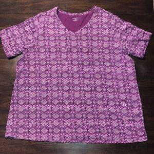 Catherines Purple V-Neck Shirt Sz 1X 18/20W